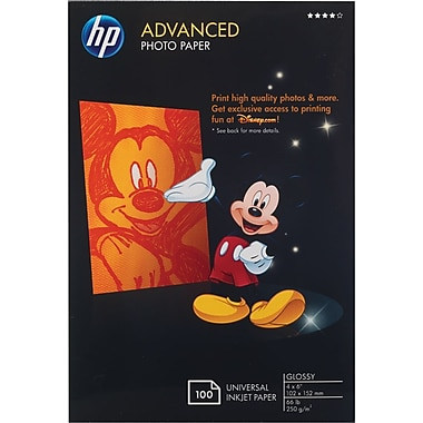 HP Advanced Borderless Photo Paper, 4in.x6in., Glossy, 100/Pack