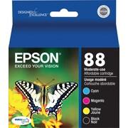 Epson® - Cartouches d'encre 88 (T088120-BCS) noir, cyan, magenta et jaune, paquet assorti