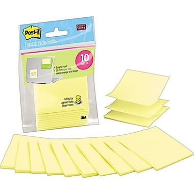 Post-it® 3in. x 3in. Canary Yellow Laptop Pop-Up Note Refills, 10/Pack