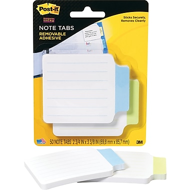 Post-it® Paper Note Tabs, Blue and Green, 2-3/4in. x 3-3/8in., 50 Tabs/Pack