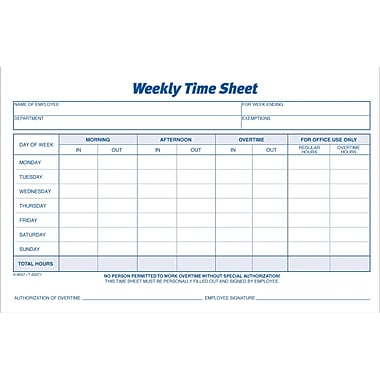 Adams® Weekly Time Sheets, 8-1/2in. x 5-1/2in.