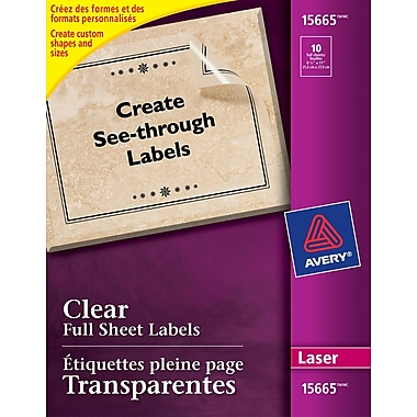 avery 15665 clear laser full sheet labels 8 1 2 x 11 10 labels pack staples