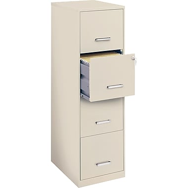Office Designs Vertical File Cabinet, 18in., 4- Drawer, Letter Size, Stone