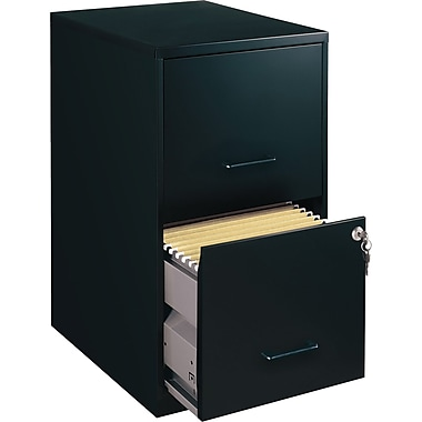 Office Designs Vertical File Cabinet, 18in. Deep 2-Drawer, Letter Size, Black
