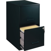 Office Designs Vertical File Cabinet, 18in. 2-Drawer, Letter Size, Black