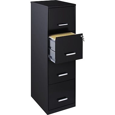 Office Designs Vertical File Cabinet, 18in., 4-Drawer, Letter Size, Black