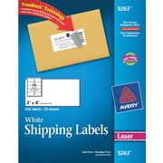 Avery® 5263 White Laser Shipping Labels with TrueBlock™, 2 x 4, 250/Box