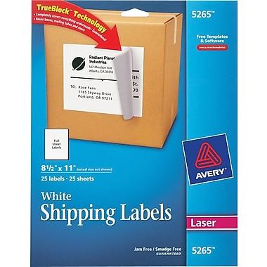 Avery 5265 White Laser Full Sheet  Labels, with TrueBlock,  8-1/2in. x 11in., 25/Box