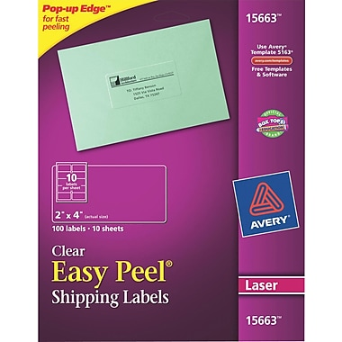 Avery 15663 Clear Laser Shipping Labels with Easy Peel, 2in. X 4in., 100/Box