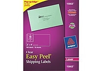 Avery® 15663 Clear Laser Shipping Labels with Easy Peel®, 2' X 4', 100/Box