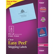 "Avery® 15664 Clear Laser Shipping Labels with Easy Peel®, 3-1/3"" X 4"", 60/Box"