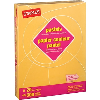 Staples® 30% Recycled Coloured Copy Paper, Letter, 8-1/2