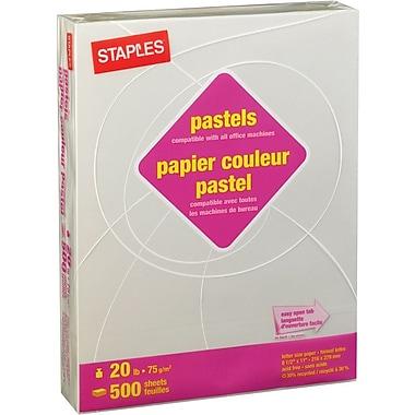 Staples® - Papier à copies recyclé à 30 %, couleurs pastel, lettre, 8 1/2 po