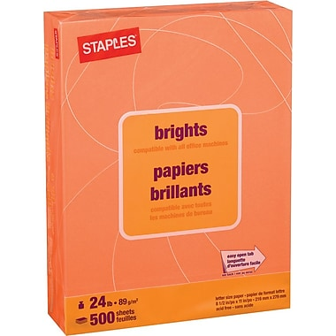 Staples® Brights Coloured Copy Paper, Letter, 8-1/2