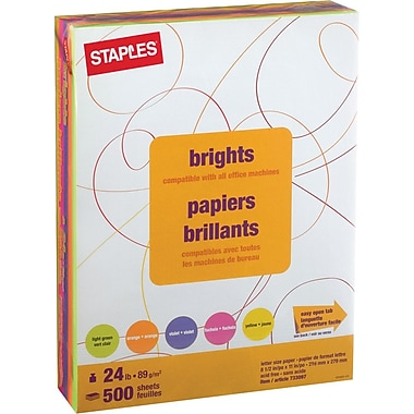 Staples® Brights Fluorescent Coloured Copy Paper, Letter, 8-1/2