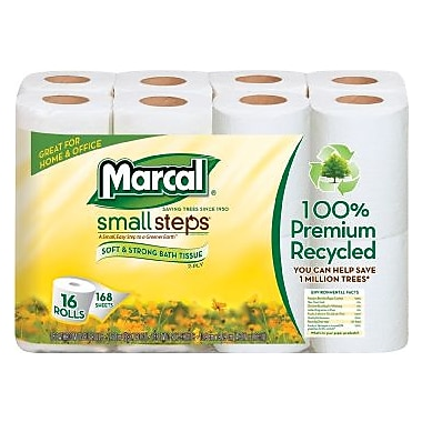 Marcal® Small Steps® 100% Recycled Bath Tissue Rolls, 2-Ply, 16 Rolls/Pack