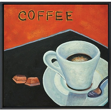 Hand Painted in.Coffeein. 12x12in. Framed Artwork