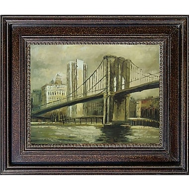 Hand Painted in.Brooklyn Bridgein. 28x32in. Framed Artwork