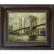 Hand Painted Brooklyn Bridge 28x32 Framed Artwork