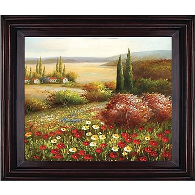 Hand Painted in.Floral Country Sidein. 26x30in. Framed Artwork