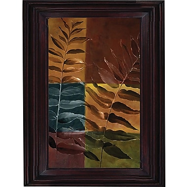 Hand Painted Oil Art in.Nature's Ferns IIin. 26x30in. Framed Artwork
