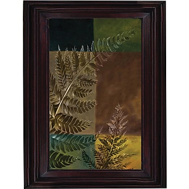 Hand Painted Oil Art in.Nature's Ferns Iin. 26x30in. Framed Artwork