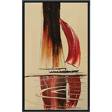 Hand Painted in.Set Sailin. Tan 26x38in. Framed Artwork