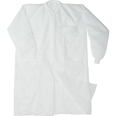 Disposable Lab Coats, Spun-Bonded Polypropylene, Large, White, 30/Box