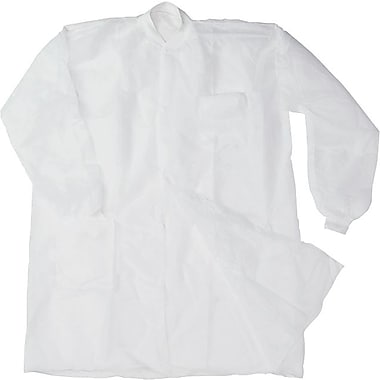 Disposable Lab Coats, Spun-Bonded Polypropylene, XL, White, 30/Box