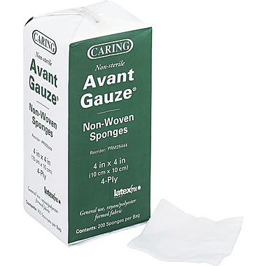 Caring Gauze Sponges, 4 x 4, 4-ply, NonSterile, 200/Box