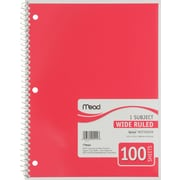 "Mead Spiral 1-Subject Notebook, 8 1/2"" x 10 1/2"", Wide Ruled, 100 Sheets"