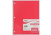 Mead Spiral 1-Subject Notebook, 8 1/2' x 10 1/2', Wide Ruled, 100 Sheets