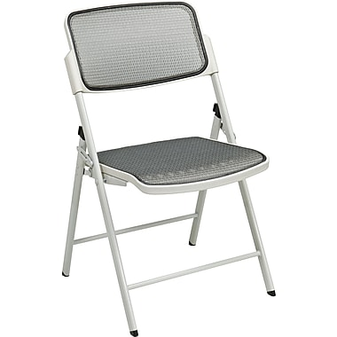 Office Star™ ProGrid™ Folding Chair, Beige with Beige Frame, 2/Pack