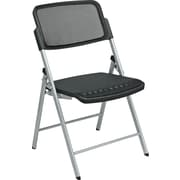 Office Star™ ProGrid™ Folding Chair, Black with Silver Frame, 2/Pack