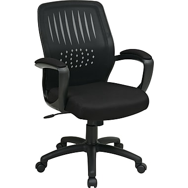 Office Star Screen-Back Mesh Manager's Chair, Fixed Arms, Black