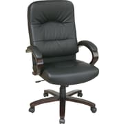 Office Star™ Elegant Wood Finish Series Bonded Leather Executive High-Back Chair, Black and Espresso