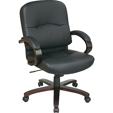 Office Star™ Elegant Wood Finish Series Bonded Leather Executive Mid-Back Chair, Black and Espresso