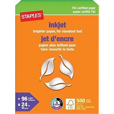 Staples® FSC-Certified Inkjet Paper, 24 lb., 8 1/2