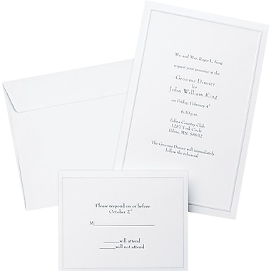 Pearl White Border Wedding Invitation Kit