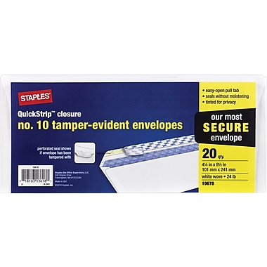 Staples #10 Tamper Evident White Wove Business Envelopes,  20/Pack