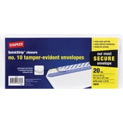 "Staples #10 Tamper Evident White Wove Business Envelopes, 4 1/8"" x 9 1/2"", White, 20/Pack (19678)"