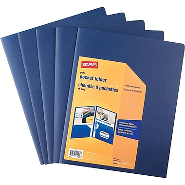 Staples® Twin-Pocket Poly Portfolios, Blue, 5/Pack