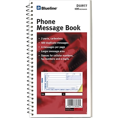 Blueline® Telephone Message Book, 5-11/16