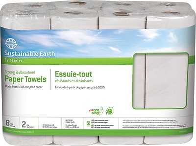Sustainable Earth by Staples Kitchen Roll Towel 2 ply Full Size 60 sheets Roll 8 rolls case SEB20184 CC
