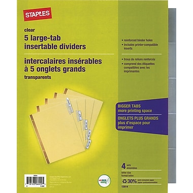 Staples Big Tab Insertable Dividers, 5-Tab, Clear