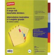 Staples Big Tab Insertable Dividers, 5-Tab, Multicolor, 4/Sets