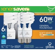 Globe T2 CFL Energy Saver Light Bulbs, 60W, Soft White, 6/Pack
