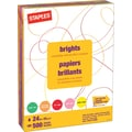 Staples® Fluorescent Coloured Copy Paper, Letter, 8-1/2in. x 11in., Assorted Colours, Ream