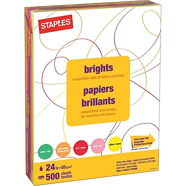 Staples® Fluorescent Coloured Copy Paper, Letter, 8-1/2
