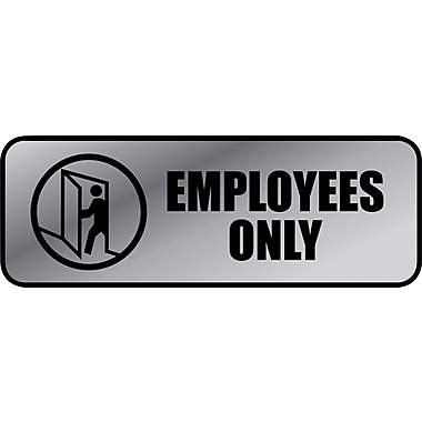 Employees Only Brushed Metal Policy Sign, 3in. x 9in.